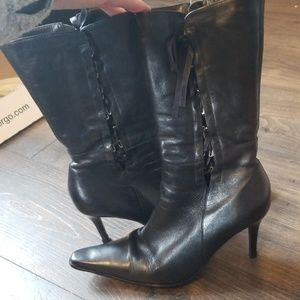 Black leather boots- side lace up